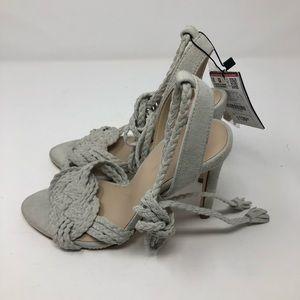 Women's Zara woven ankle tie gray sandal size 36